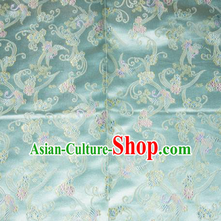 Chinese Traditional Blue Silk Fabric Tang Suit Brocade Cheongsam Cranes Pattern Cloth Material Drapery