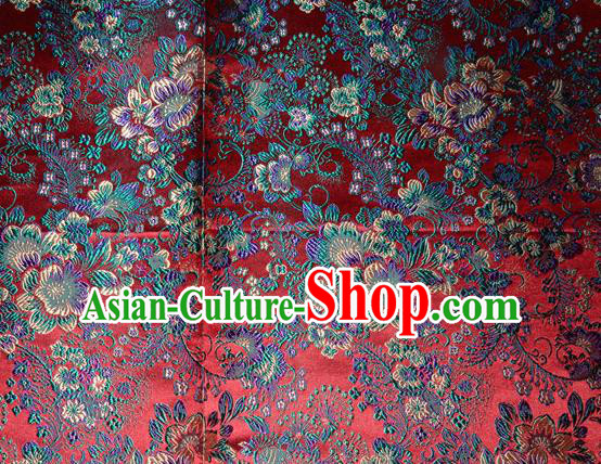 Chinese Traditional Dark Red Silk Fabric Tang Suit Brocade Cheongsam Classical Pattern Cloth Material Drapery