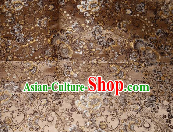 Chinese Traditional Bronze Silk Fabric Tang Suit Brocade Cheongsam Classical Pattern Cloth Material Drapery