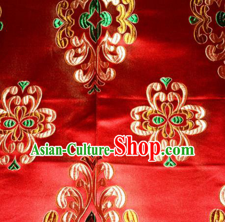 Chinese Traditional Silk Fabric Tang Suit Red Brocade Cheongsam Classical Pattern Cloth Material Drapery