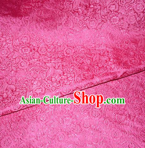 Chinese Traditional Cheongsam Rosy Silk Fabric Tang Suit Brocade Classical Pattern Cloth Material Drapery