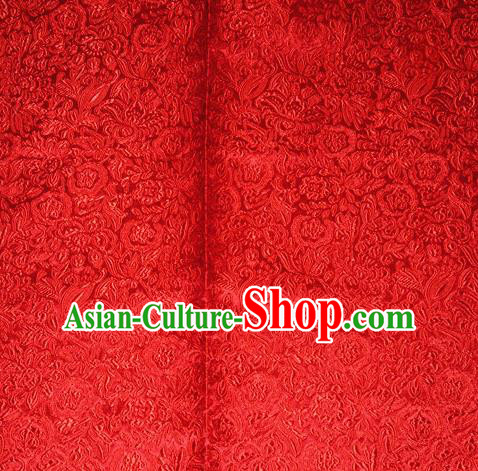 Chinese Traditional Cheongsam Red Silk Fabric Tang Suit Brocade Classical Pattern Cloth Material Drapery