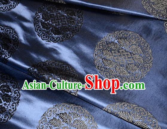 Chinese Traditional Cheongsam Silk Fabric Tang Suit Navy Brocade Classical Round Pattern Cloth Material Drapery