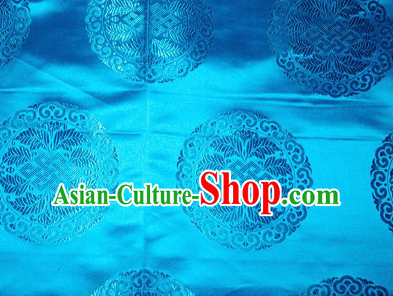 Chinese Traditional Cheongsam Silk Fabric Tang Suit Blue Brocade Classical Round Pattern Cloth Material Drapery