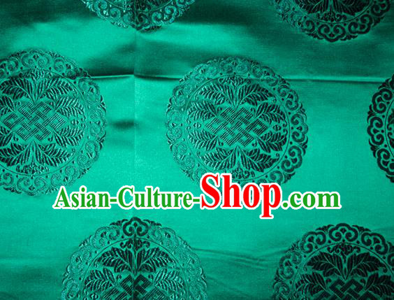 Chinese Traditional Cheongsam Silk Fabric Tang Suit Green Brocade Classical Round Pattern Cloth Material Drapery