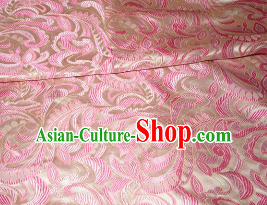 Chinese Traditional Cheongsam Silk Fabric Tang Suit Pink Brocade Classical Cockscomb Pattern Cloth Material Drapery