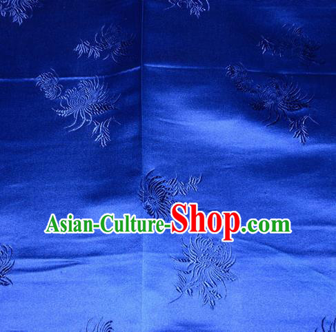 Chinese Traditional Classical Chrysanthemum Pattern Silk Fabric Tang Suit Royalblue Brocade Cloth Cheongsam Material Drapery