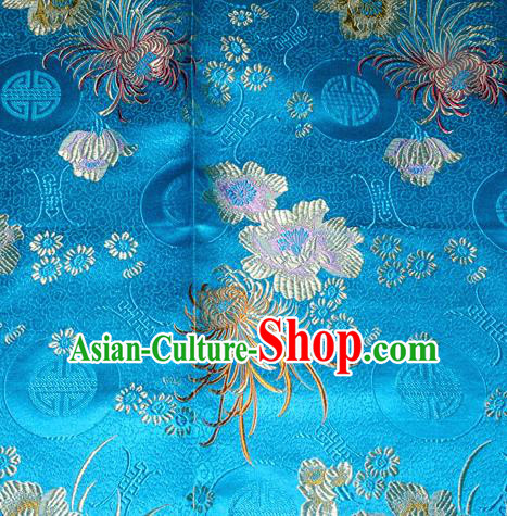 Chinese Traditional Silk Fabric Classical Chrysanthemum Pattern Tang Suit Blue Brocade Cloth Cheongsam Material Drapery