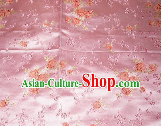 Classical Chrysanthemum Pattern Chinese Traditional Pink Silk Fabric Tang Suit Brocade Cloth Cheongsam Material Drapery
