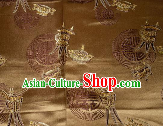 Classical Wine Goblet Pattern Chinese Traditional Bronze Silk Fabric Tang Suit Brocade Cloth Cheongsam Material Drapery
