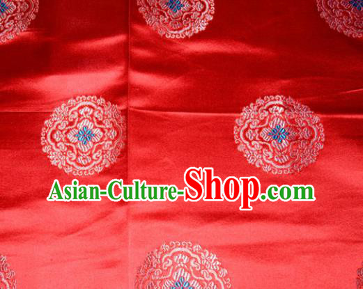 Classical Round Pattern Chinese Traditional Red Silk Fabric Tang Suit Brocade Cloth Cheongsam Material Drapery