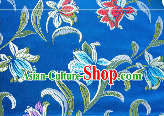 Chinese Traditional Silk Fabric Tang Suit Classical Pattern Blue Brocade Cloth Cheongsam Material Drapery