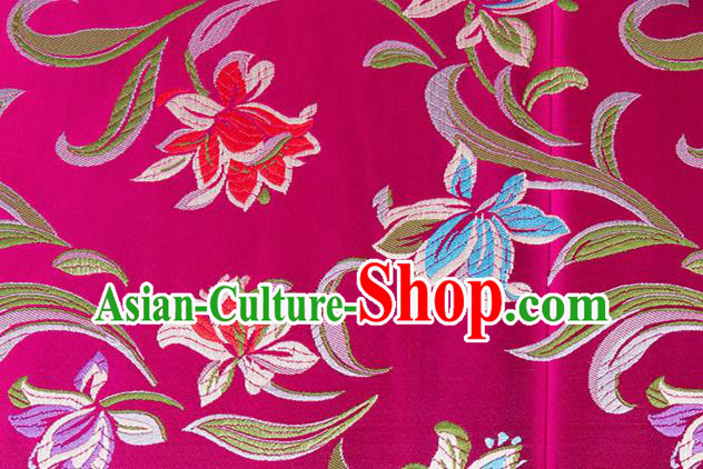 Chinese Traditional Silk Fabric Tang Suit Classical Pattern Rosy Brocade Cloth Cheongsam Material Drapery