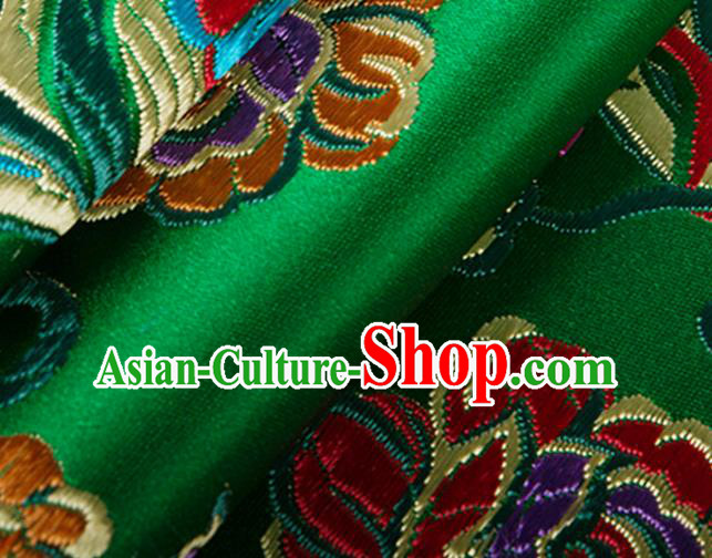 Chinese Traditional Silk Fabric Tang Suit Classical Flowers Pattern Green Brocade Cloth Cheongsam Material Drapery