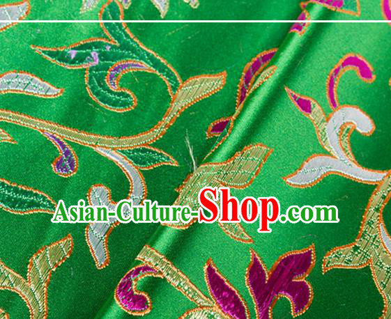 Chinese Traditional Green Silk Fabric Tang Suit Classical Flowers Pattern Brocade Cloth Cheongsam Material Drapery