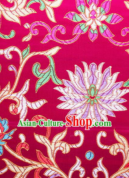 Chinese Traditional Wine Red Brocade Fabric Tang Suit Classical Flowers Pattern Silk Cloth Cheongsam Material Drapery