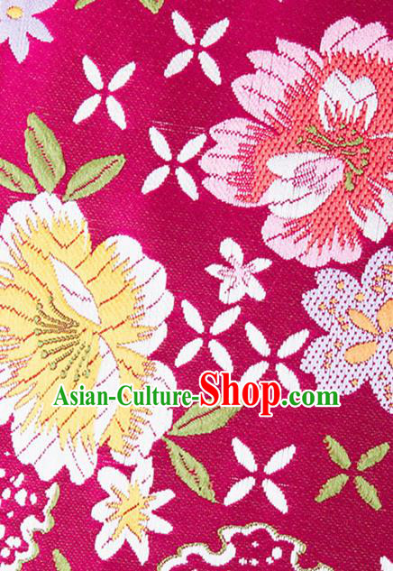 Chinese Traditional Wine Red Brocade Fabric Tang Suit Silk Cloth Cheongsam Material Drapery