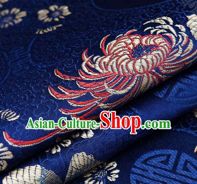 Chinese Traditional Navy Brocade Fabric Chrysanthemum Pattern Tang Suit Silk Cloth Cheongsam Material Drapery