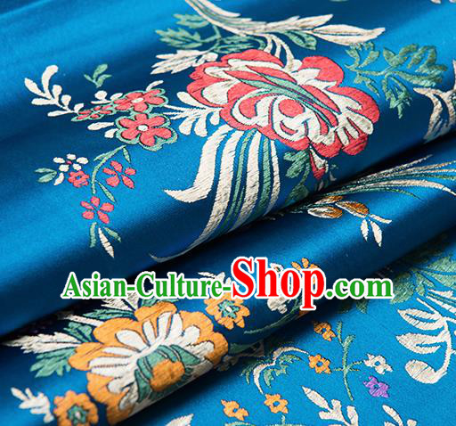 Chinese Traditional Begonia Pattern Tang Suit Blue Brocade Fabric Silk Cloth Cheongsam Material Drapery