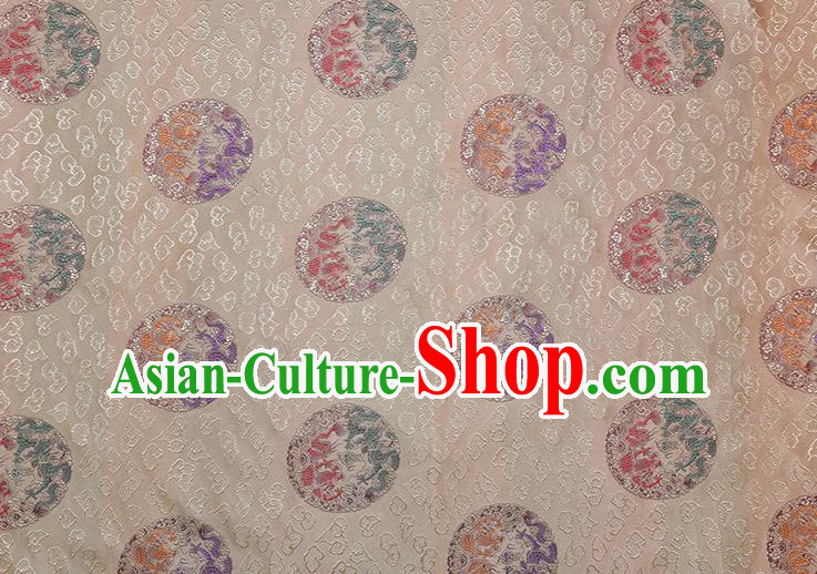 Chinese Traditional Round Dragons Pattern Tang Suit White Brocade Fabric Silk Cloth Cheongsam Material Drapery