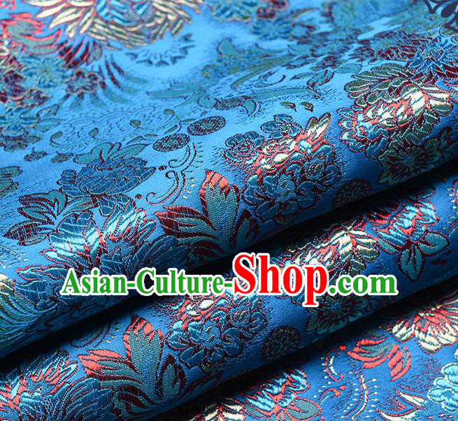 Chinese Traditional Tang Suit Blue Brocade Fabric Peony Pattern Silk Cloth Cheongsam Material Drapery
