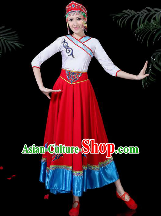 Chinese Traditional Mongolian Classical Dance Dress Mongol Minority Folk Dance Clothing for Women