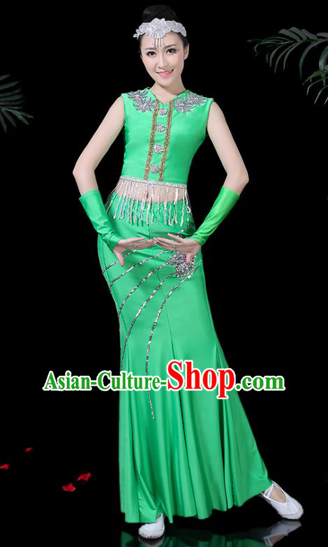 Chinese Traditional Classical Peacock Dance Green Dress Dai Minority Folk Dance Costume for Women