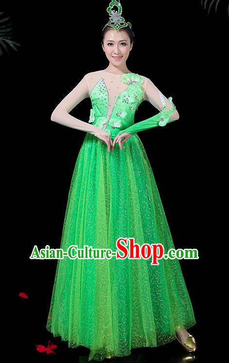 Chinese Classical Dance Green Long Dress Traditional Folk Dance Fan Dance Clothing for Women