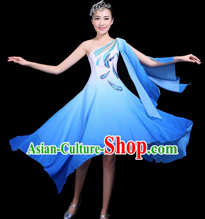 Traditional Jasmine Flower Dance Classical Dance Blue Dress Chinese Folk Dance Umbrella Dance Costume for Women