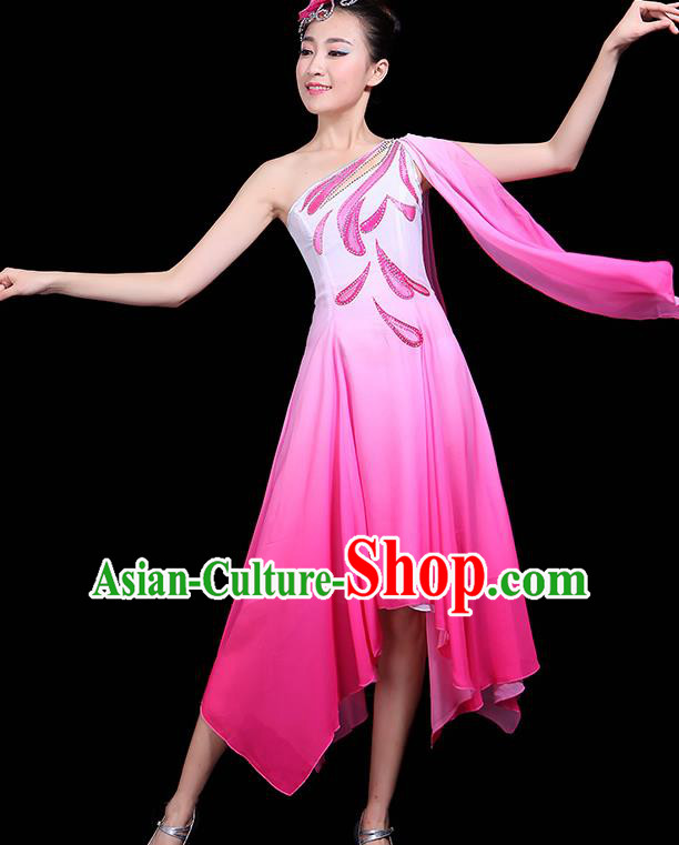 Traditional Jasmine Flower Dance Classical Dance Pink Dress Chinese Folk Dance Umbrella Dance Costume for Women