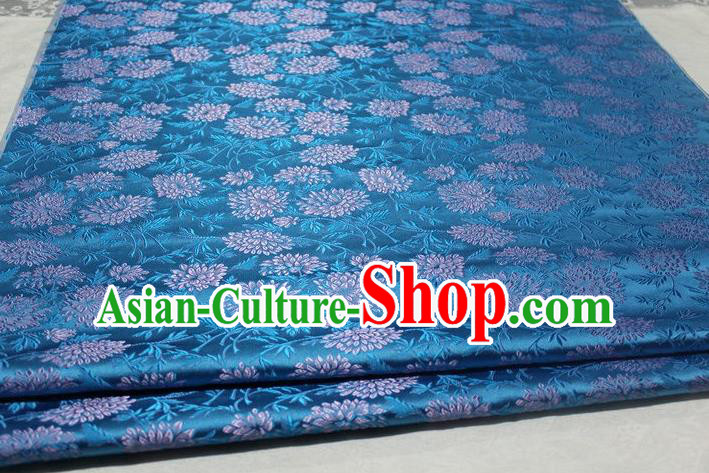 Chinese Traditional Cloth Cheongsam Blue Brocade Fabric Tang Suit Silk Material Drapery