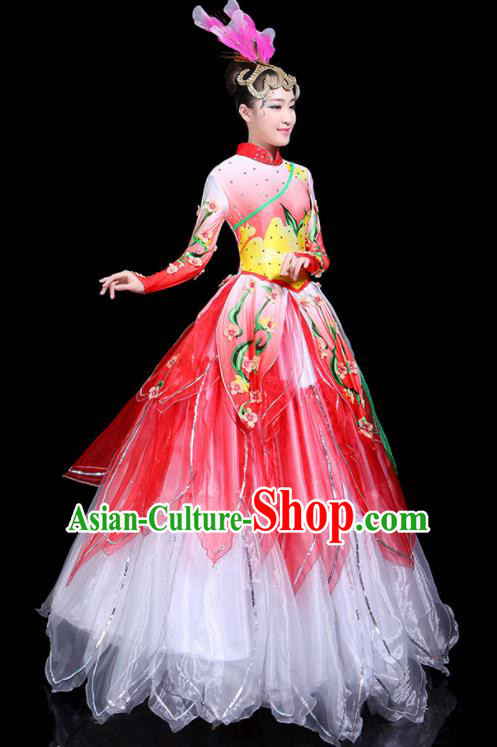 Traditional Classical Dance Umbrella Dance Red Dress Chinese Folk Dance Peony Costume for Women