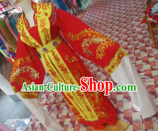 Chinese Traditional Beijing Opera Princess Embroidered Wedding Dress Peking Opera Actress Red Costume for Adults