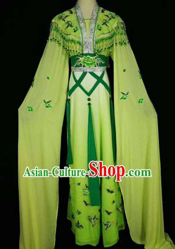 Chinese Traditional Beijing Opera Actress Costume Princess Embroidered Green Hanfu Dress for Adults