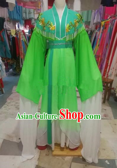 Chinese Traditional Beijing Opera Green Dress Peking Opera Diva Costumes for Adults