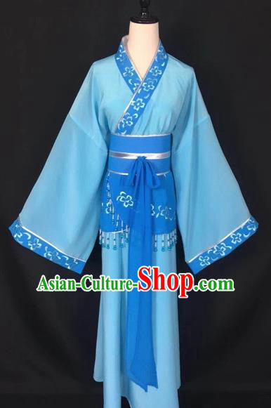 Chinese Traditional Beijing Opera Handmaiden Blue Hanfu Dress Peking Opera Diva Costumes for Adults