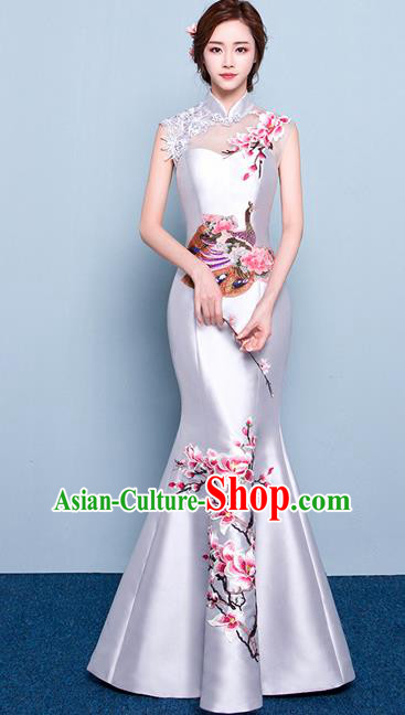 Chinese Traditional Elegant Magnolia Qipao Dress Classical Costume White Cheongsam for Women
