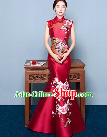 Chinese Traditional Elegant Magnolia Qipao Dress Classical Costume Wine Red Cheongsam for Women