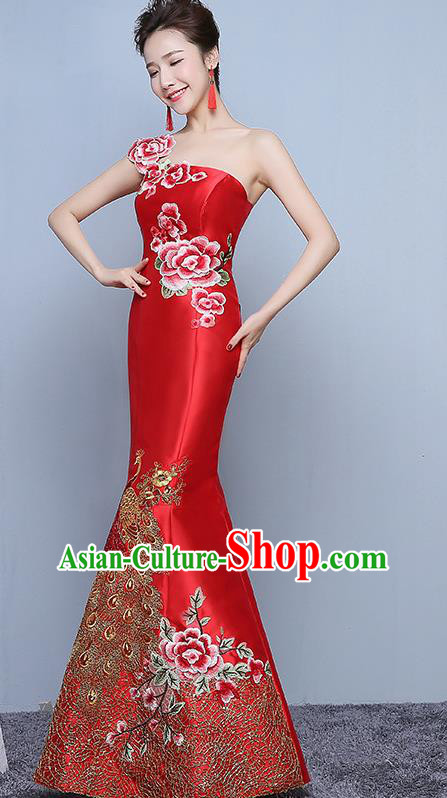 Chinese Traditional Embroidered Peony Red Qipao Dress Classical Costume Elegant Cheongsam for Women