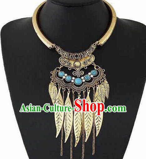 Handmade Golden Leaf Necklace Stage Show Necklet Accessories for Women