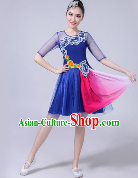 Top Grade Stage Show Chorus Costumes Modern Dance Embroidered Peony Royalblue Dress for Women