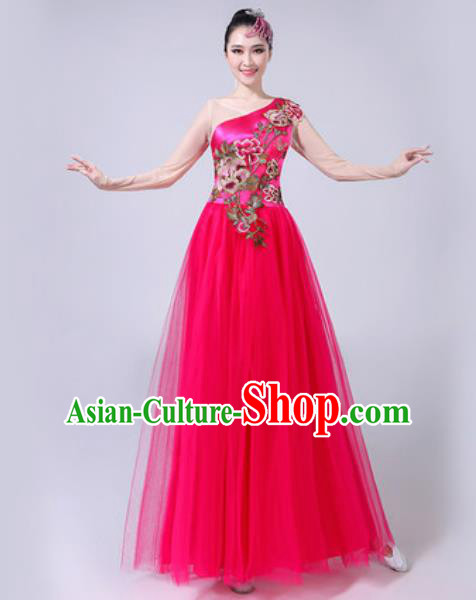 Top Grade Stage Show Chorus Costumes Modern Dance Embroidered Peony Rosy Long Dress for Women