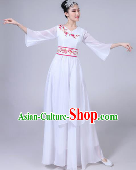 Chinese Classical Dance White Dress Traditional Chorus Umbrella Dance Fan Dance Costumes for Women
