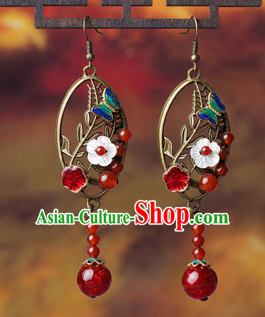 Chinese Traditional Ear Jewelry Accessories National Hanfu Red Coloured Glaze Earrings for Women