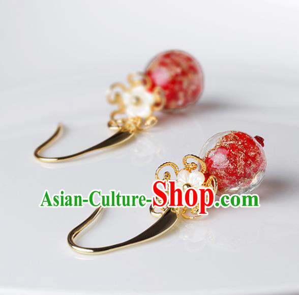 Chinese Traditional Ear Jewelry Accessories National Hanfu Classical Colored Glaze Earrings for Women