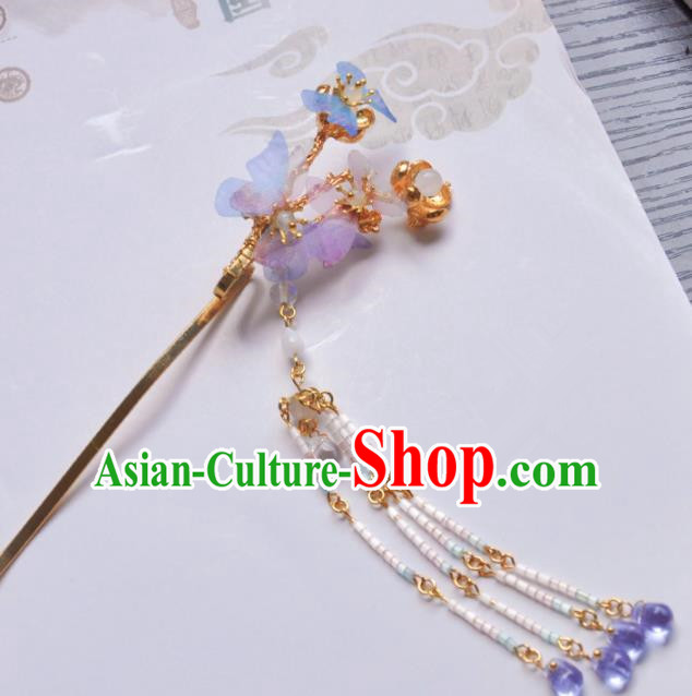 Handmade Chinese Traditional Silk Butterfly Tassel Hairpins Ancient Classical Hanfu Hair Accessories for Women