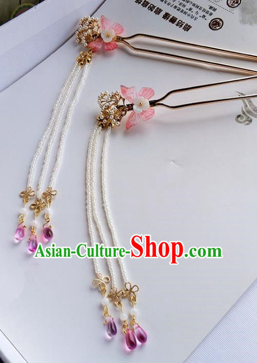 Handmade Chinese Traditional Red Butterfly Tassel Hairpins Ancient Classical Hanfu Hair Accessories for Women