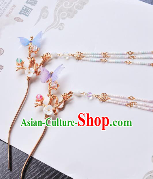 Handmade Chinese Traditional Butterfly Tassel Hairpins Ancient Classical Hanfu Hair Accessories for Women
