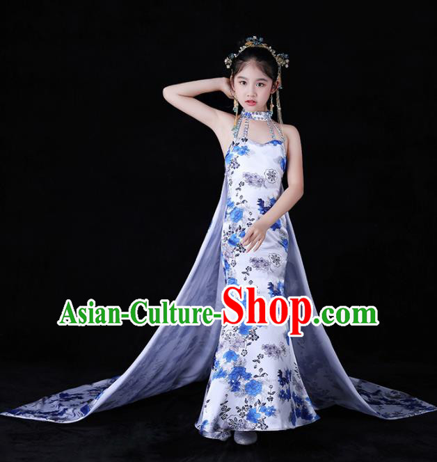 Children Stage Performance Catwalks Costume Chinese Dance Compere Full Dress for Girls Kids