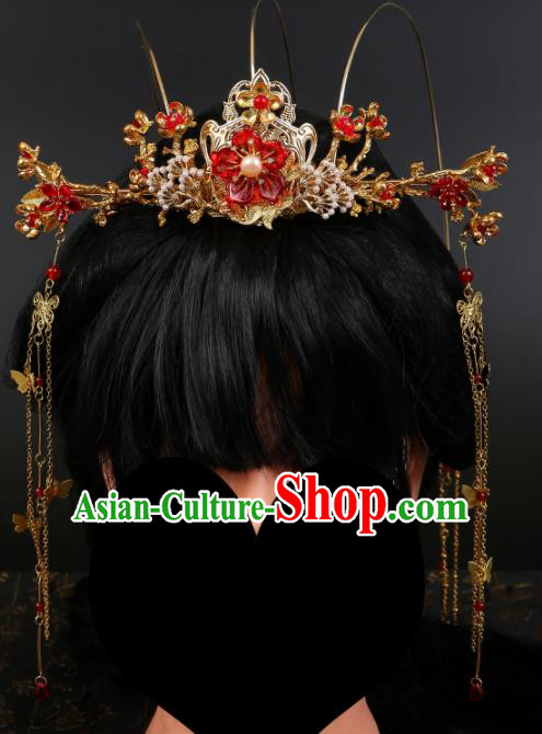 Chinese Ancient Traditional Hanfu Red Flowers Phoenix Coronet Hairpins Handmade Classical Hair Accessories for Women